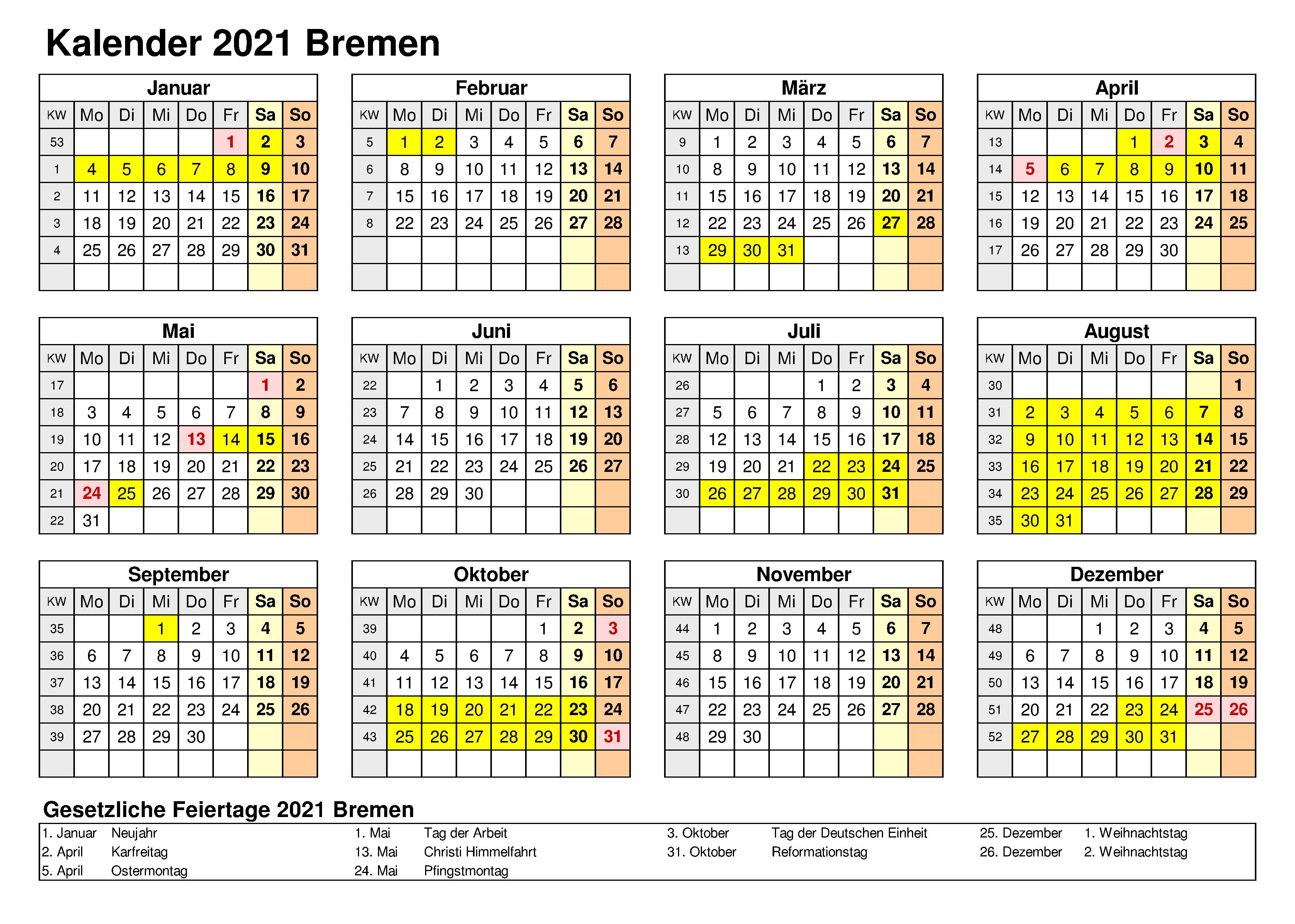 Sommerferien Bremen 2021 Kalender Excel Word