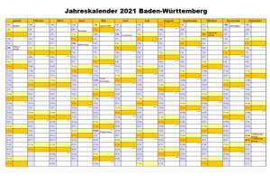 Jahreskalender 2021 Baden-Württemberg PDF