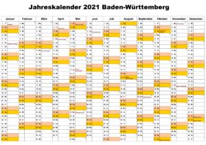 Jahreskalender 2021 Baden-Württemberg MitFeiertagen
