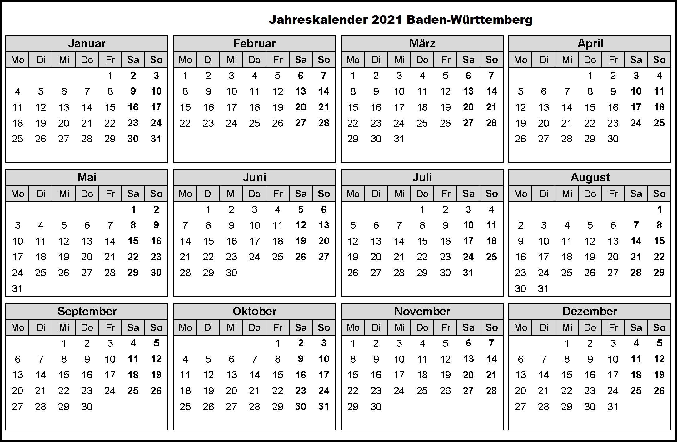 Jahreskalender 2021 Baden-Württemberg MitFerien und Feiertagen