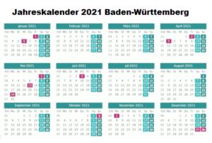 Jahreskalender 2021 Baden-Württemberg