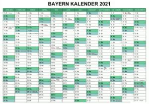 Jahreskalender 2021 Bavaria MitFeiertagen