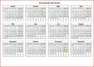 Jahreskalender 2021 Bavaria MitFerien und Feiertagen