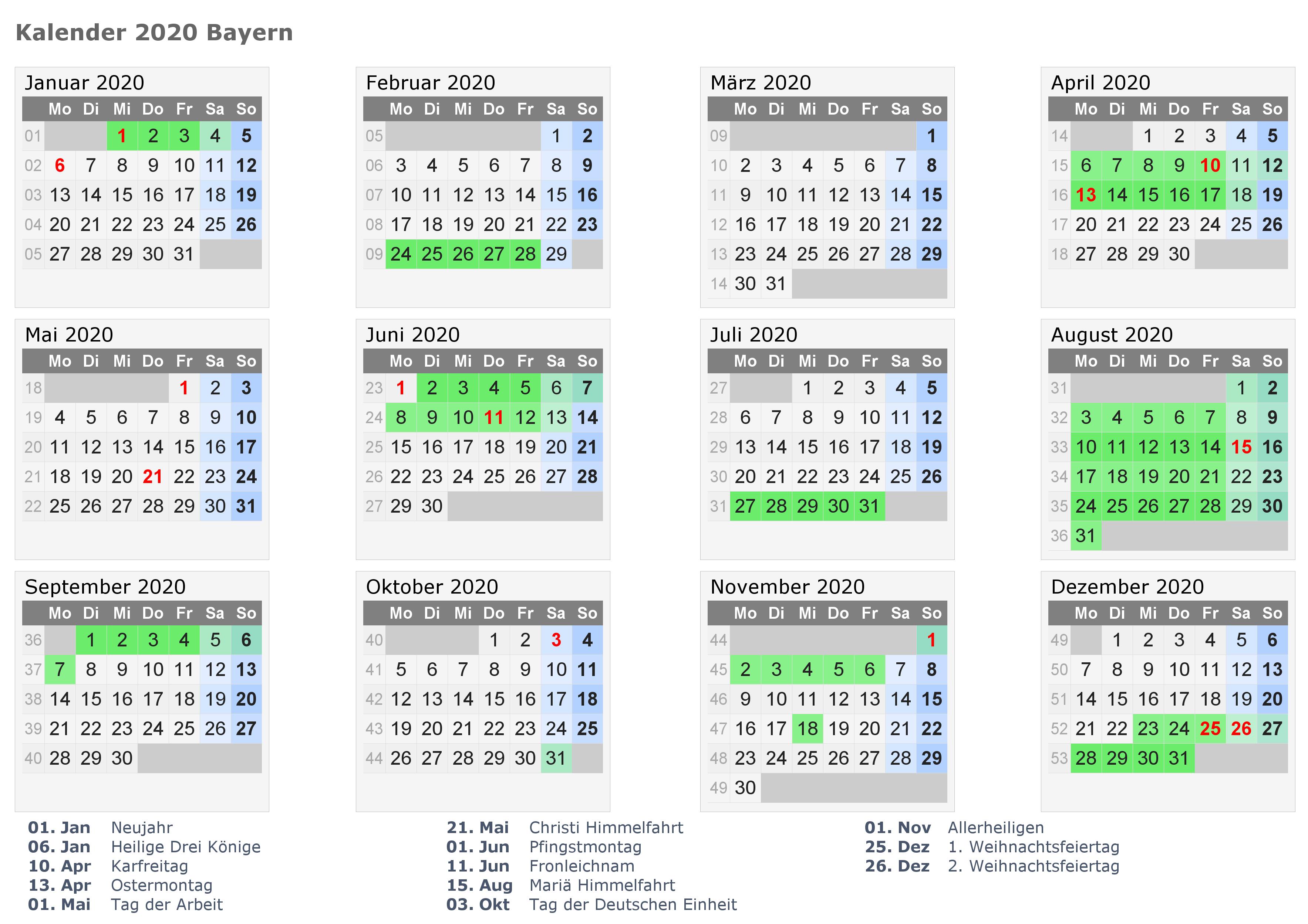 Jahreskalender 2021 Bavaria