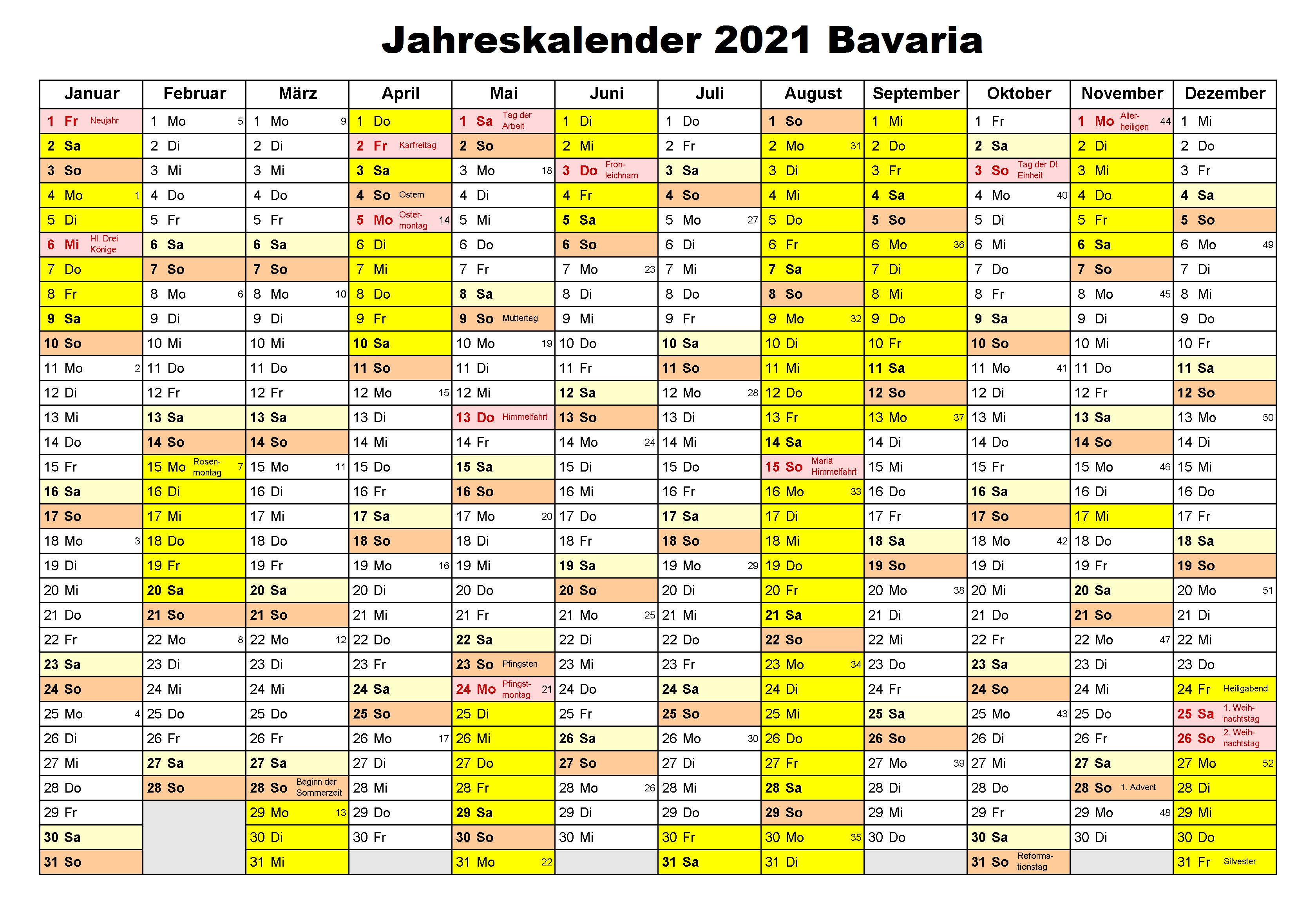 Jahreskalender 2021 Bavaria PDF