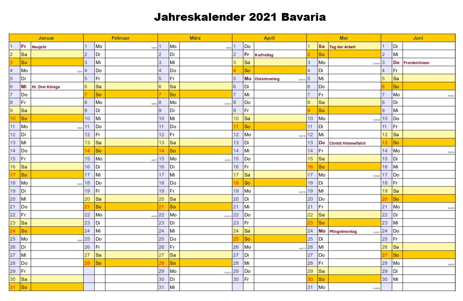 Kostenlos Jahreskalender 2021 Bavaria Zum Ausdrucken