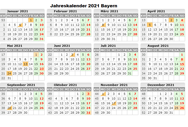 Jahreskalender 2021 Bayern