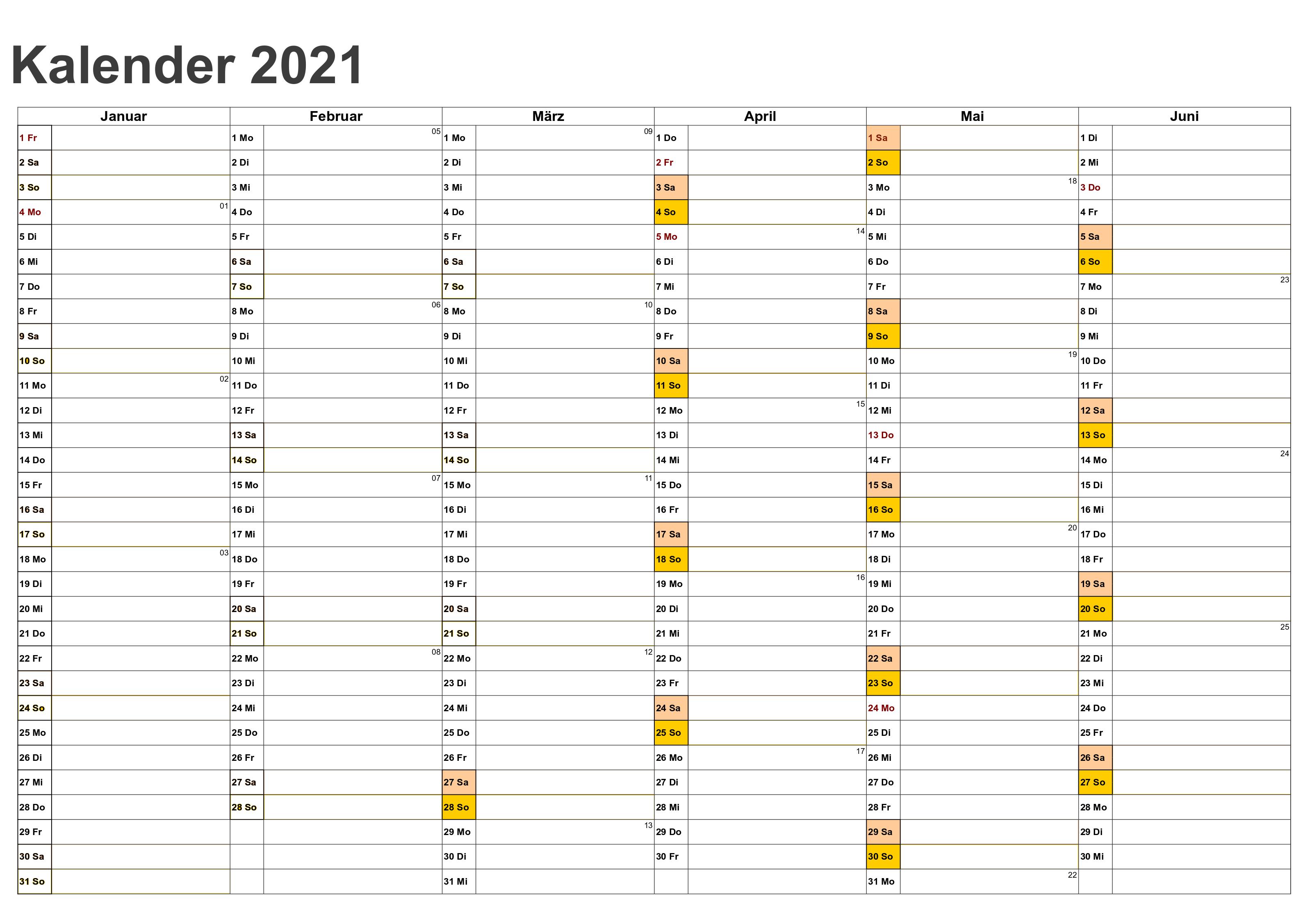 Jahreskalender 2021 BayernMitFerien und Feiertagen