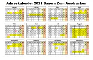 Jahreskalender 2021 Bayern Zum AusdruckenKostenlos