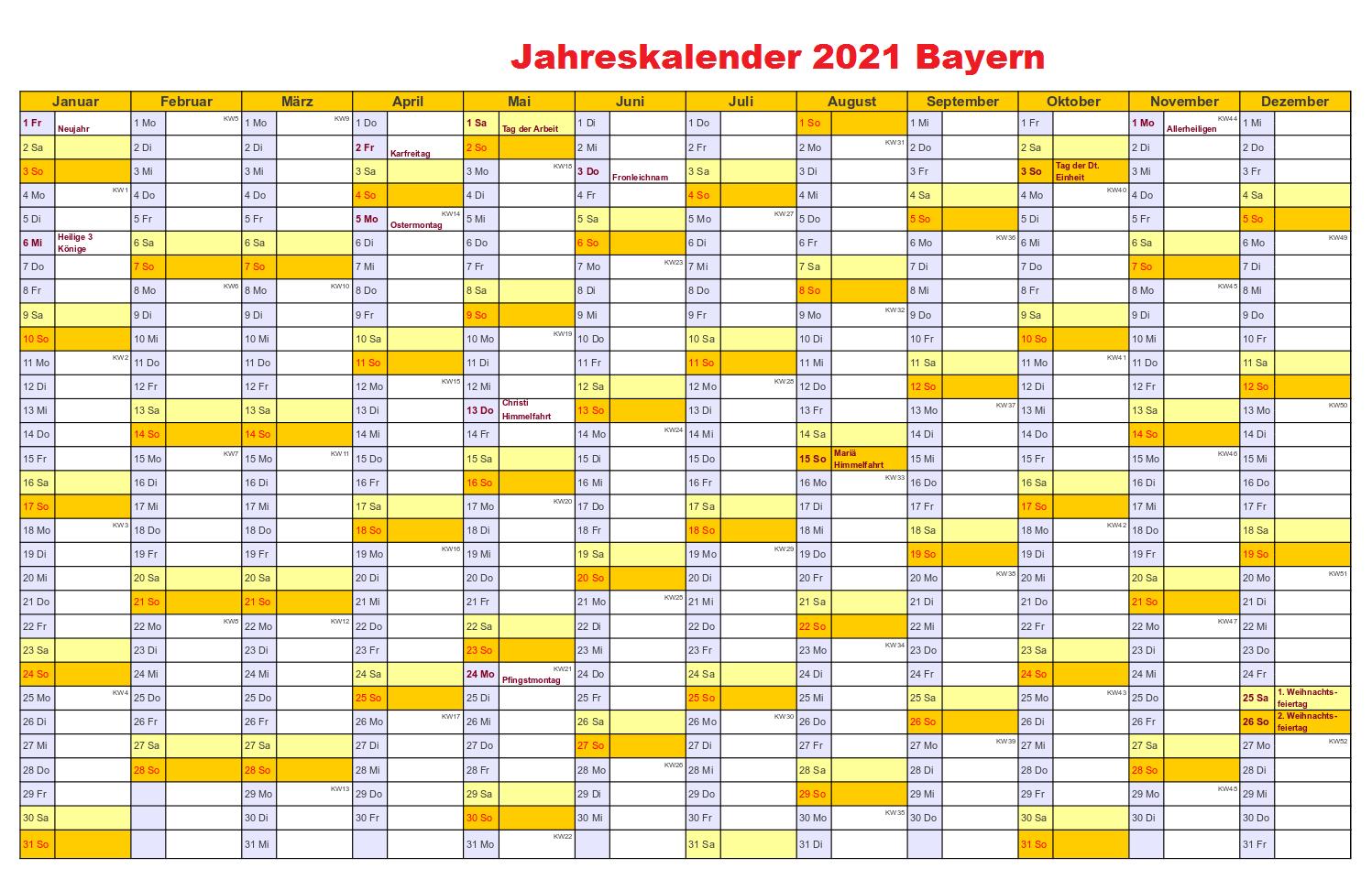 Jahreskalender 2021 Bayern Pdf
