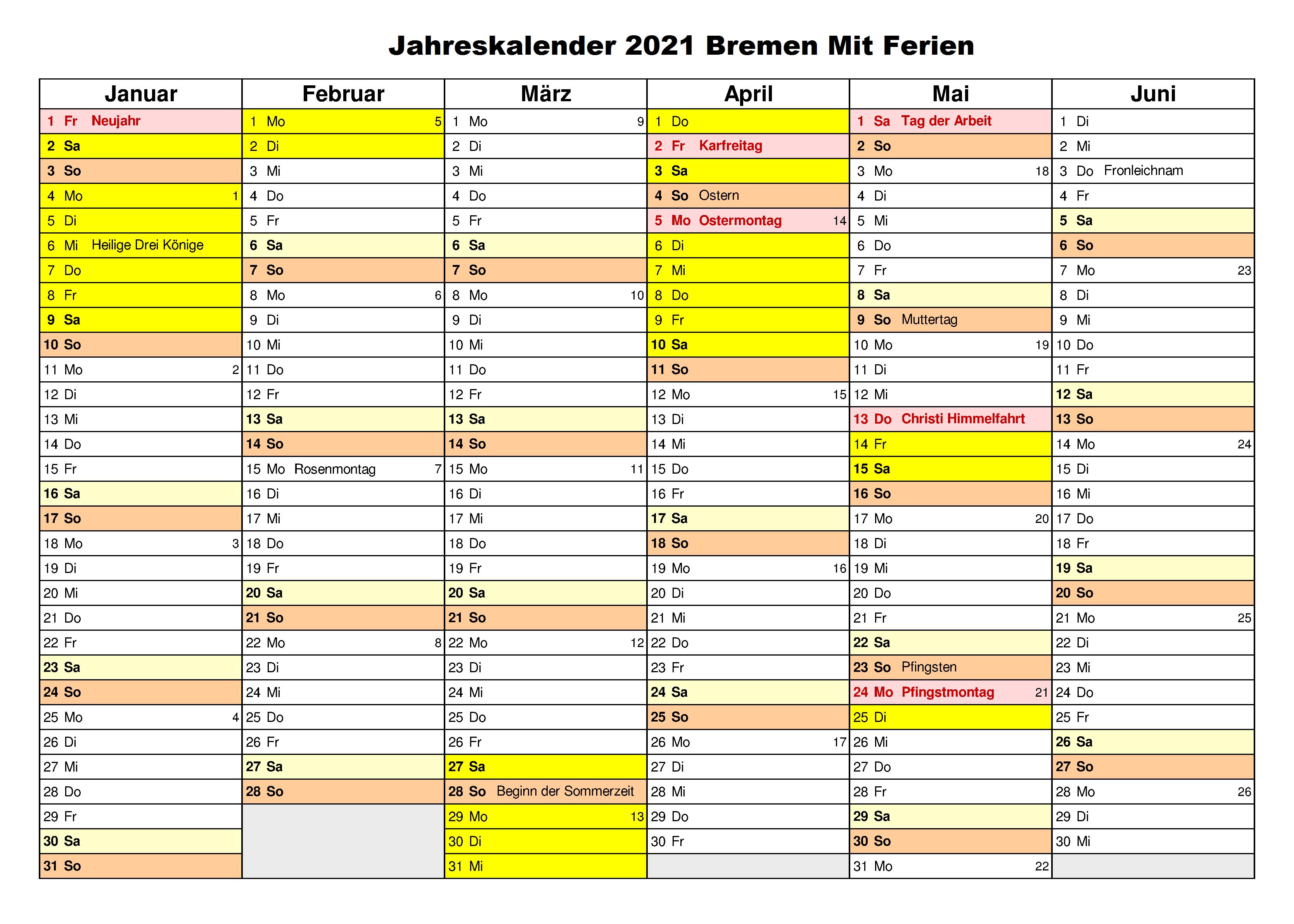 Jahreskalender 2021 Bremen MitFerien und Feiertagen
