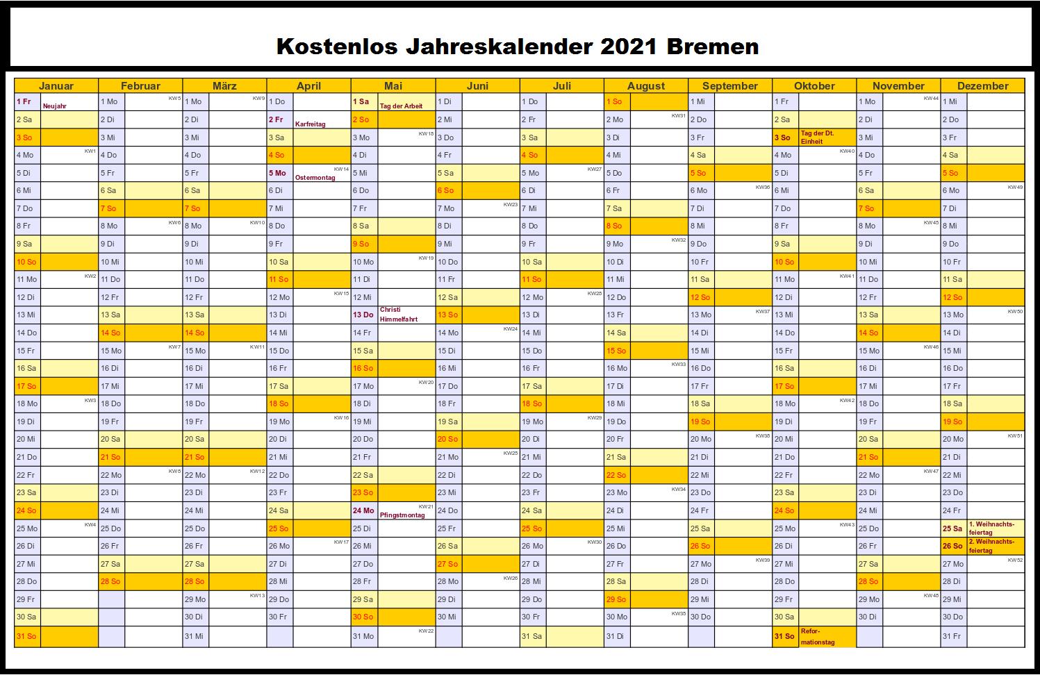 Jahreskalender 2021 Bremen PDF