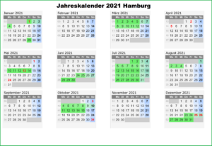 Jahreskalender 2021 Hamburg PDF