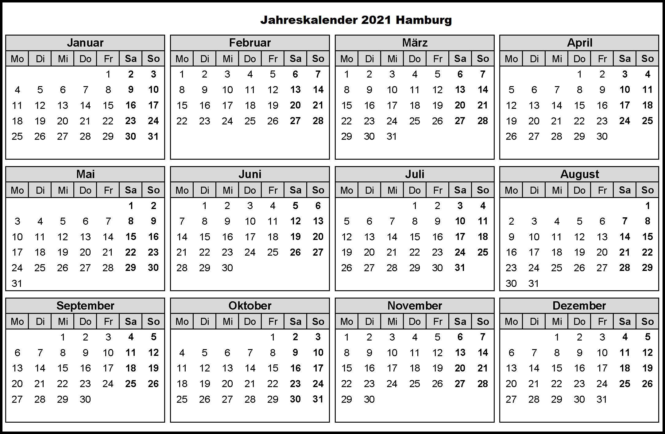 Jahreskalender 2021 Hamburg MitFerien und Feiertagen