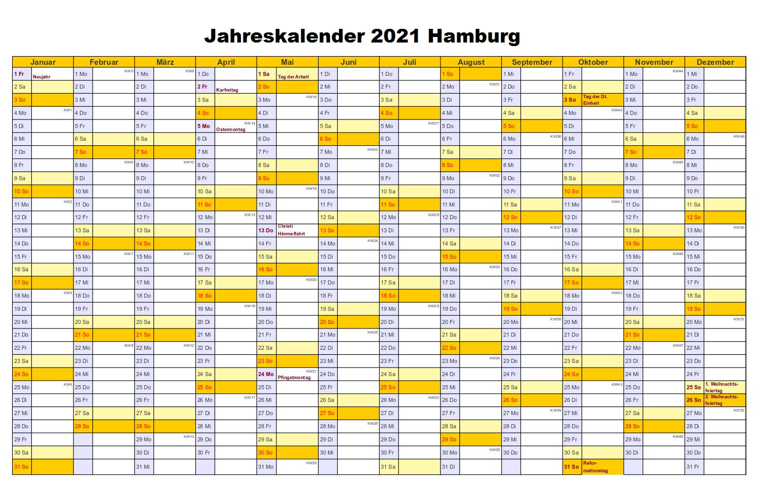 Kostenlos Jahreskalender 2021 Hamburg Zum Ausdrucken