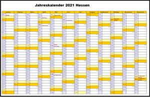 Jahreskalender 2021 Hessen PDF
