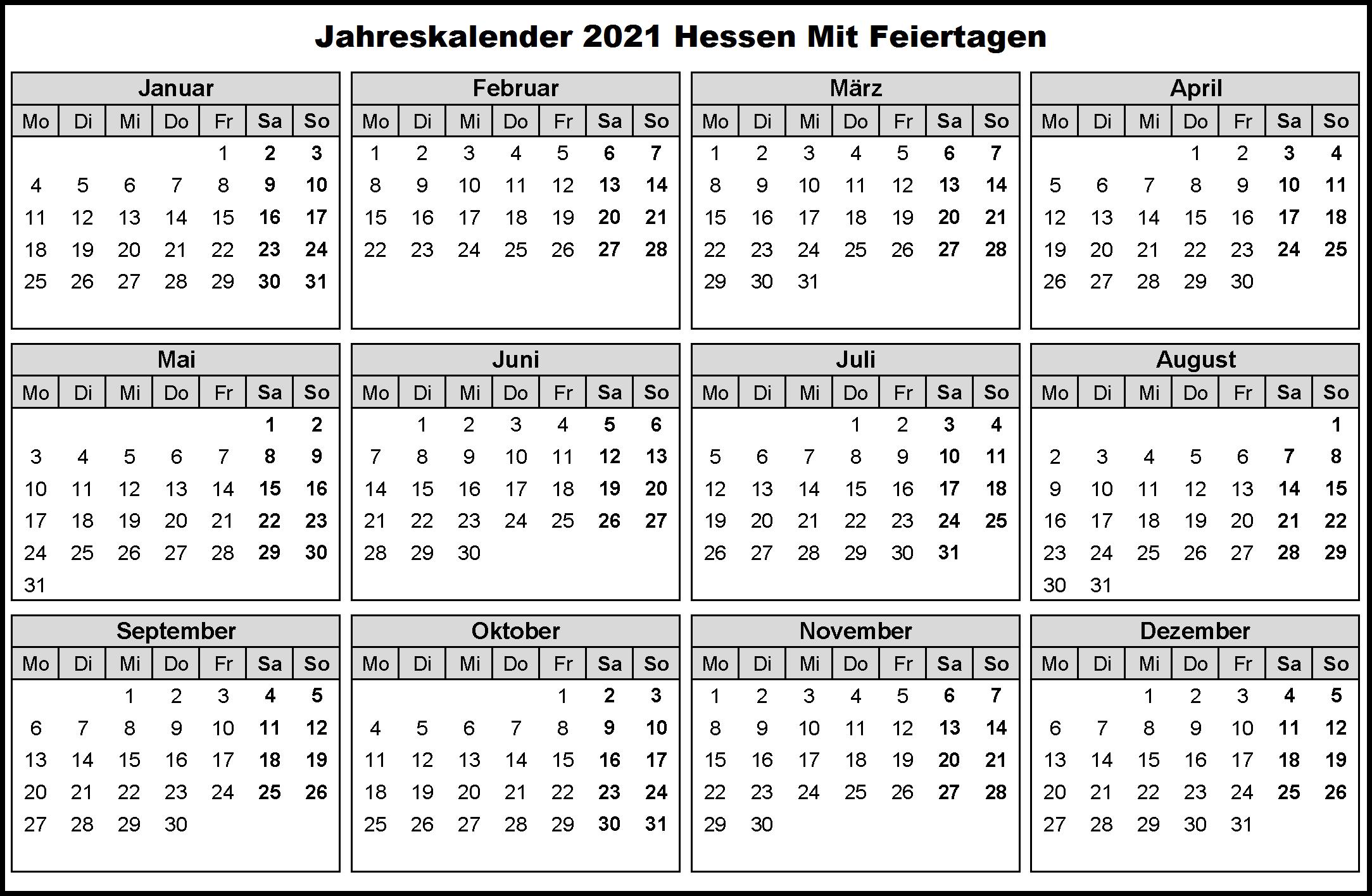 Jahreskalender 2021 Hessen MitFerien und Feiertagen