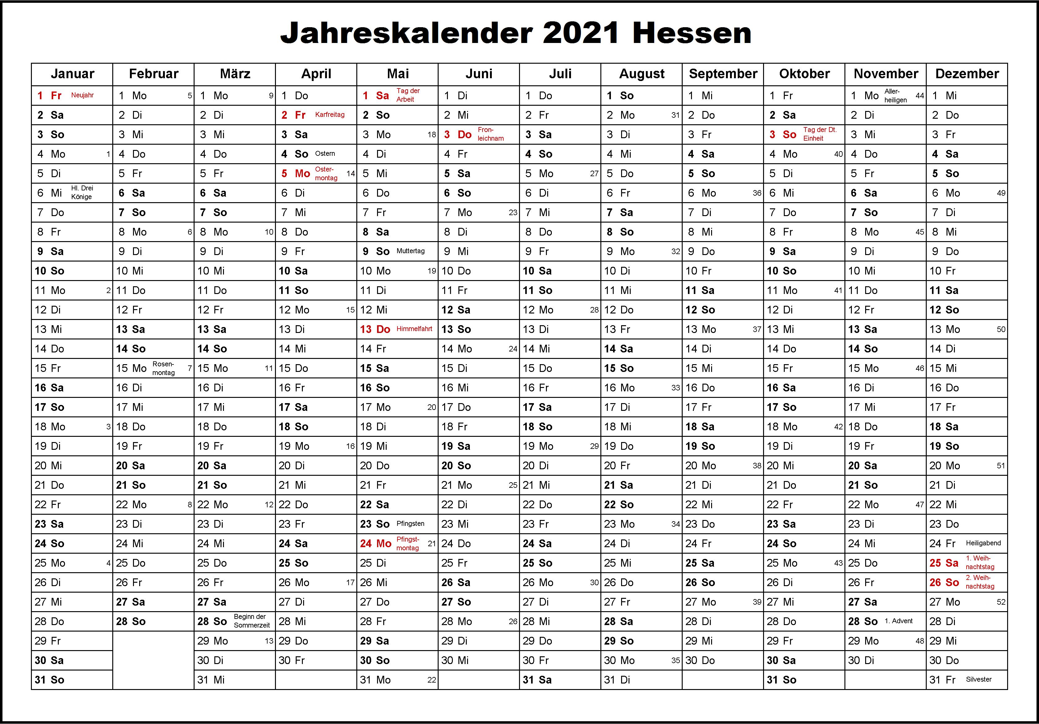 Kostenlos Jahreskalender 2021 Hessen Zum Ausdrucken