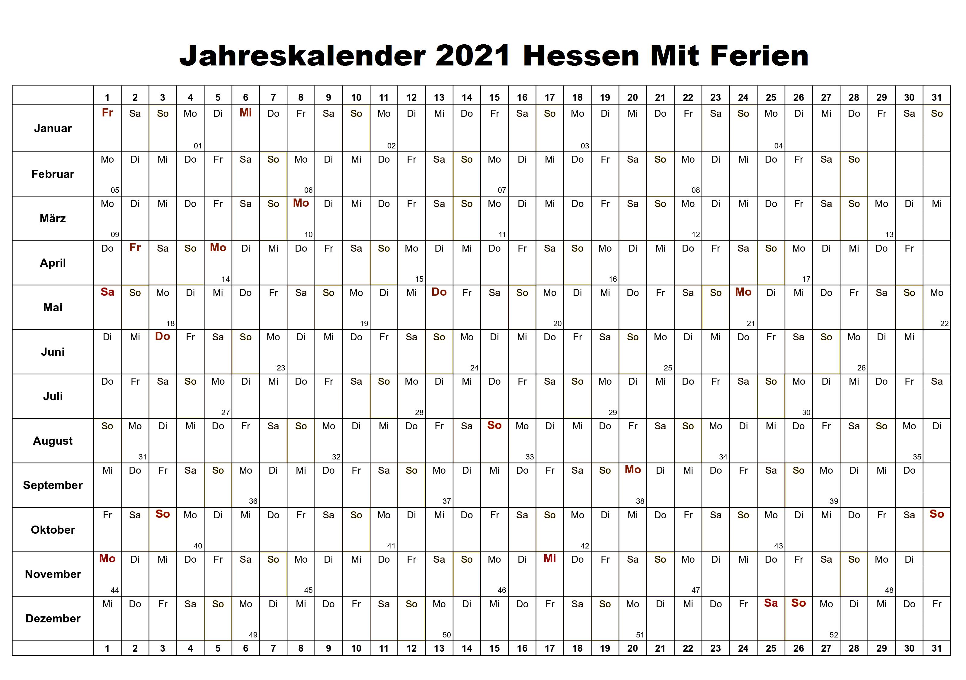 Jahreskalender 2021 Hessen Schulferien
