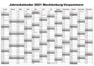 Jahreskalender 2021 Mecklenburg-Vorpommern