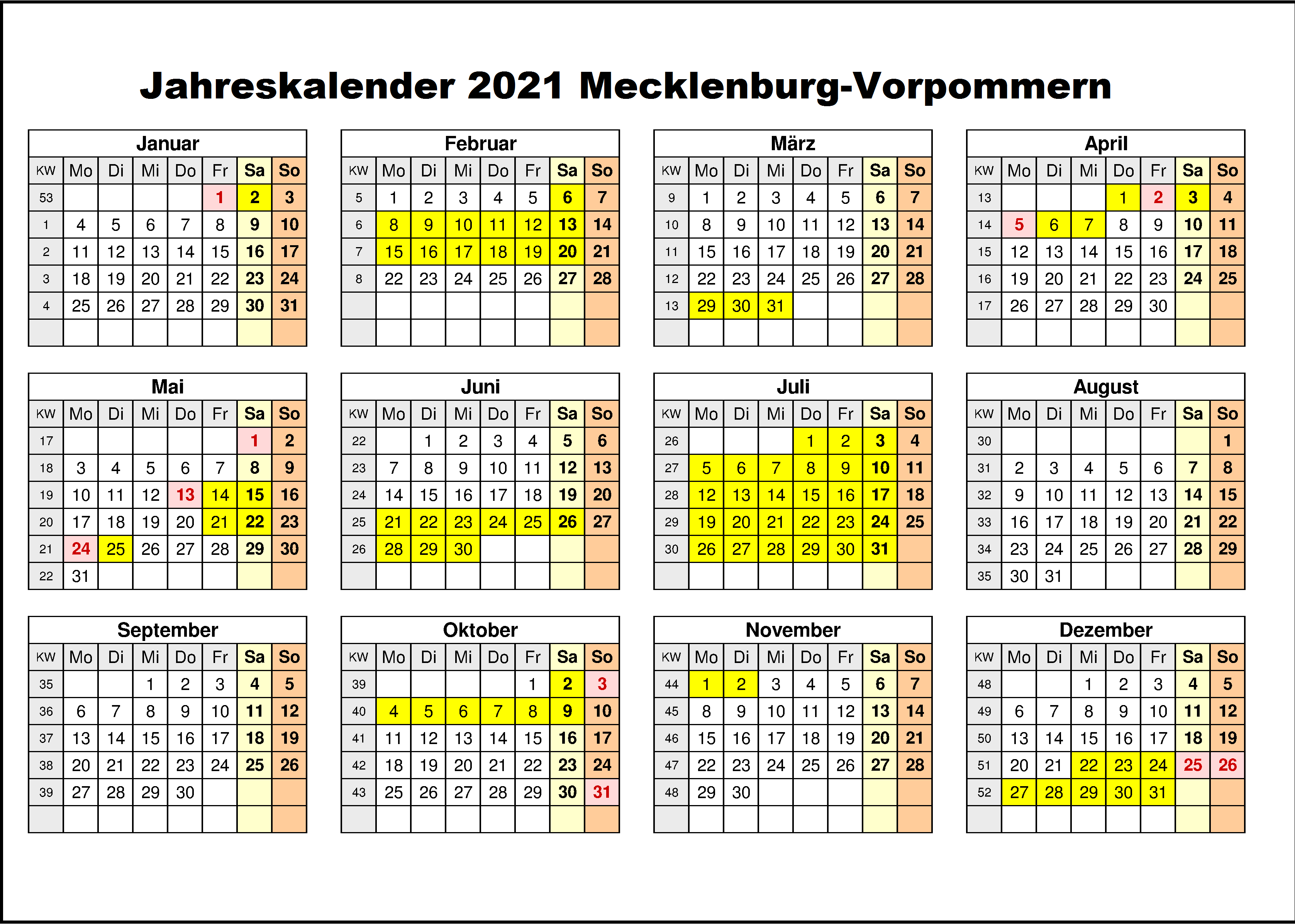 Jahreskalender 2021 Mecklenburg-Vorpommern PDF