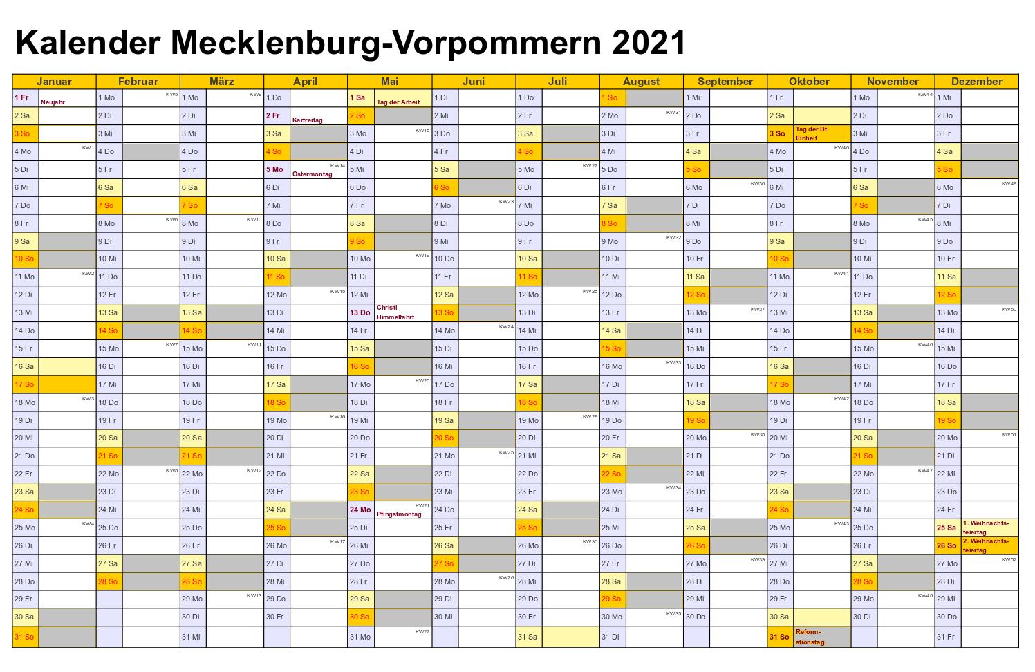 Jahreskalender 2021 Mecklenburg-Vorpommern MitFeiertagen