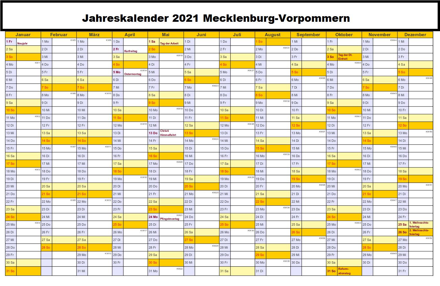 Kostenlos Jahreskalender 2021 Mecklenburg-Vorpommern Zum Ausdrucken