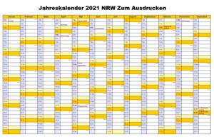 Kostenlos Jahreskalender 2021 NRW Zum Ausdrucken