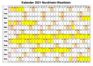 Jahreskalender 2021 NRW MitFeiertagen