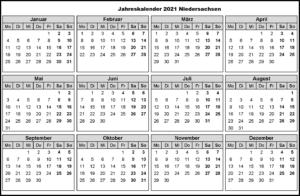 Jahreskalender 2021 Niedersachsen MitFerien und Feiertagen