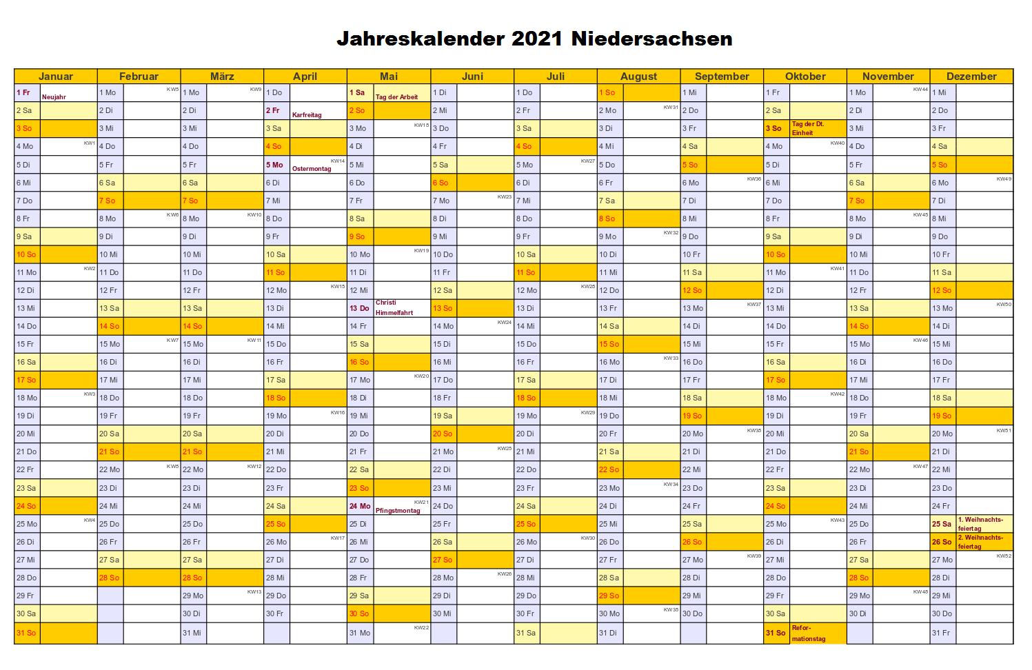 Jahreskalender 2021 Niedersachsen PDF