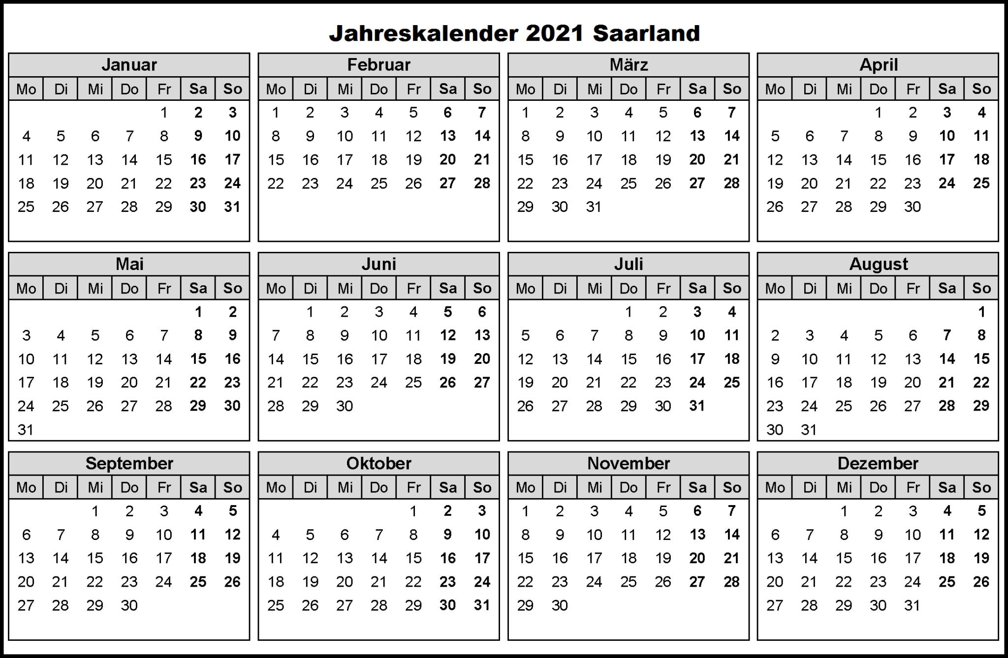 Jahreskalender 2021 Saarland Mit Ferien und Feiertagen ...