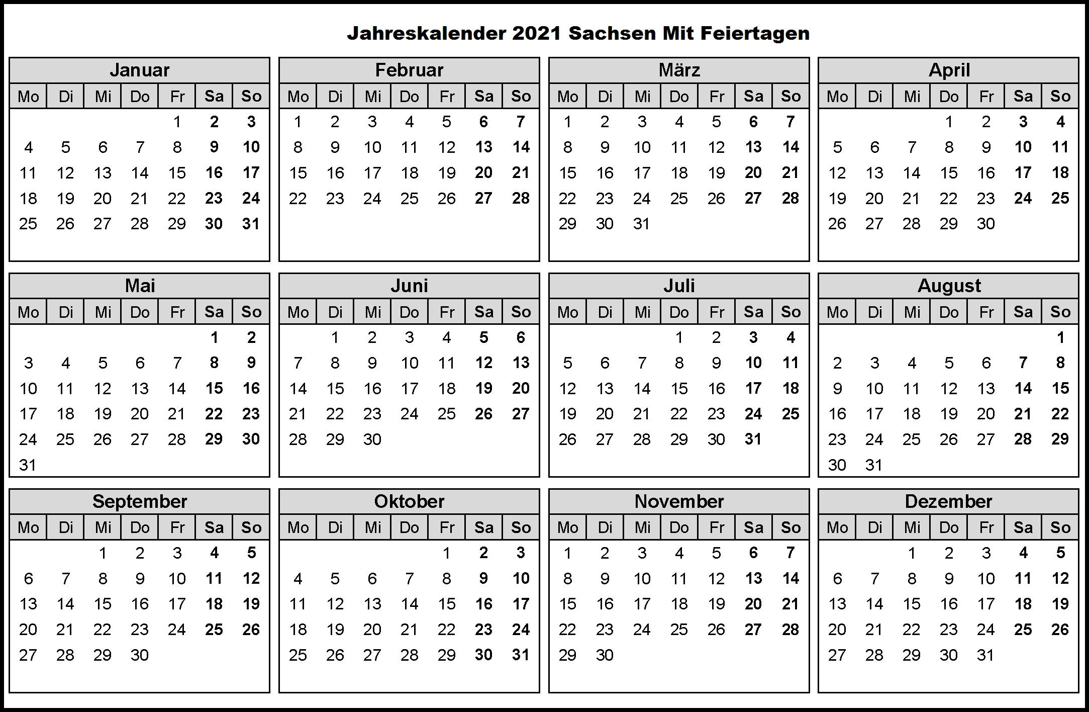 Jahreskalender 2021 Sachsen