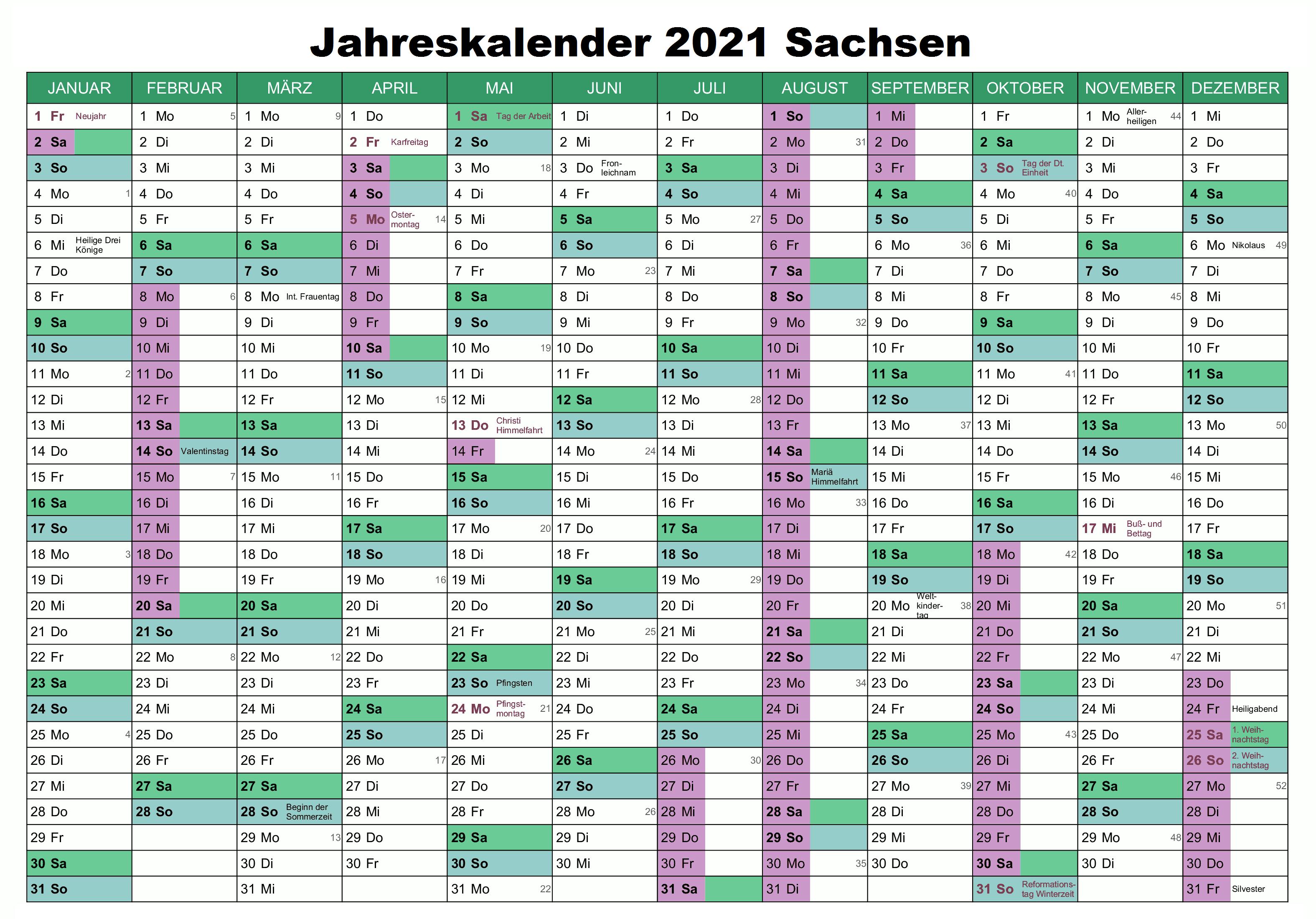 Jahreskalender 2021 Sachsen PDF
