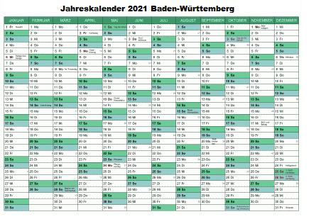 Kostenlos Jahreskalender 2021 Baden-Württemberg Zum Ausdrucken