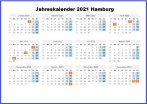 Jahreskalender 2021 Hamburg