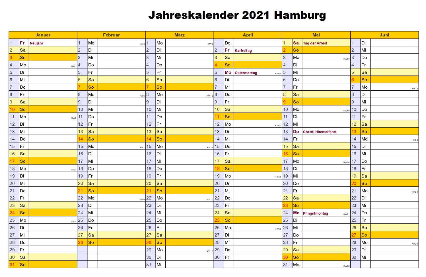 Jahreskalender 2021 Hamburg MitFeiertagen