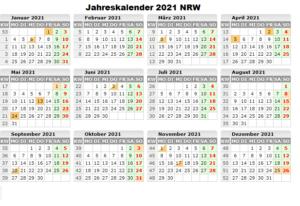 Jahreskalender 2021 NRW MitFerien und Feiertagen