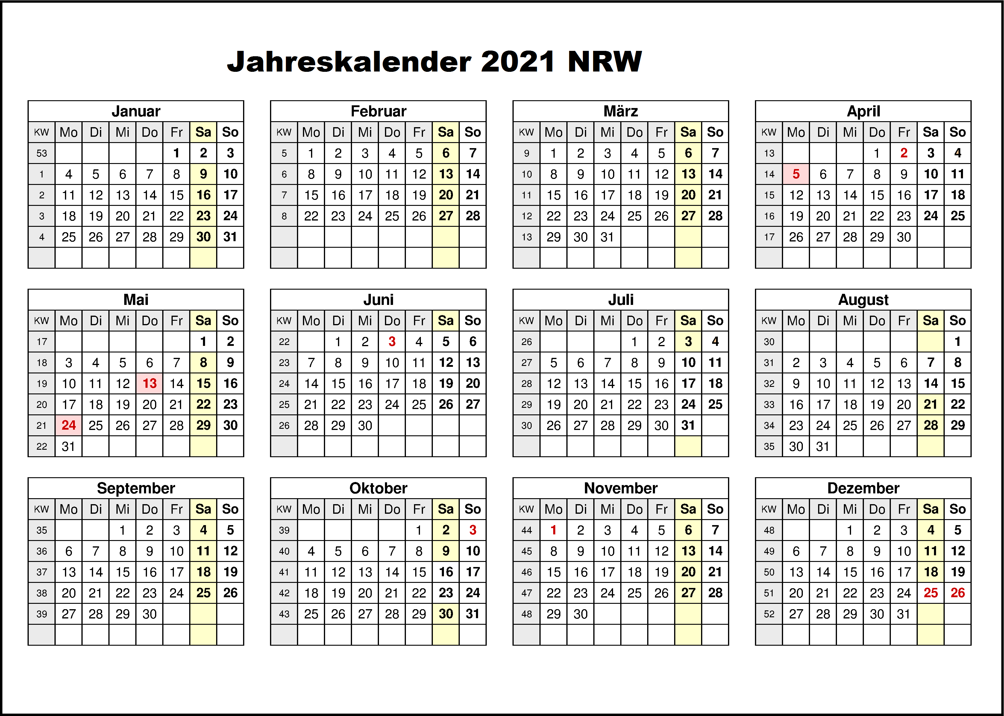 Jahreskalender 2021 NRW