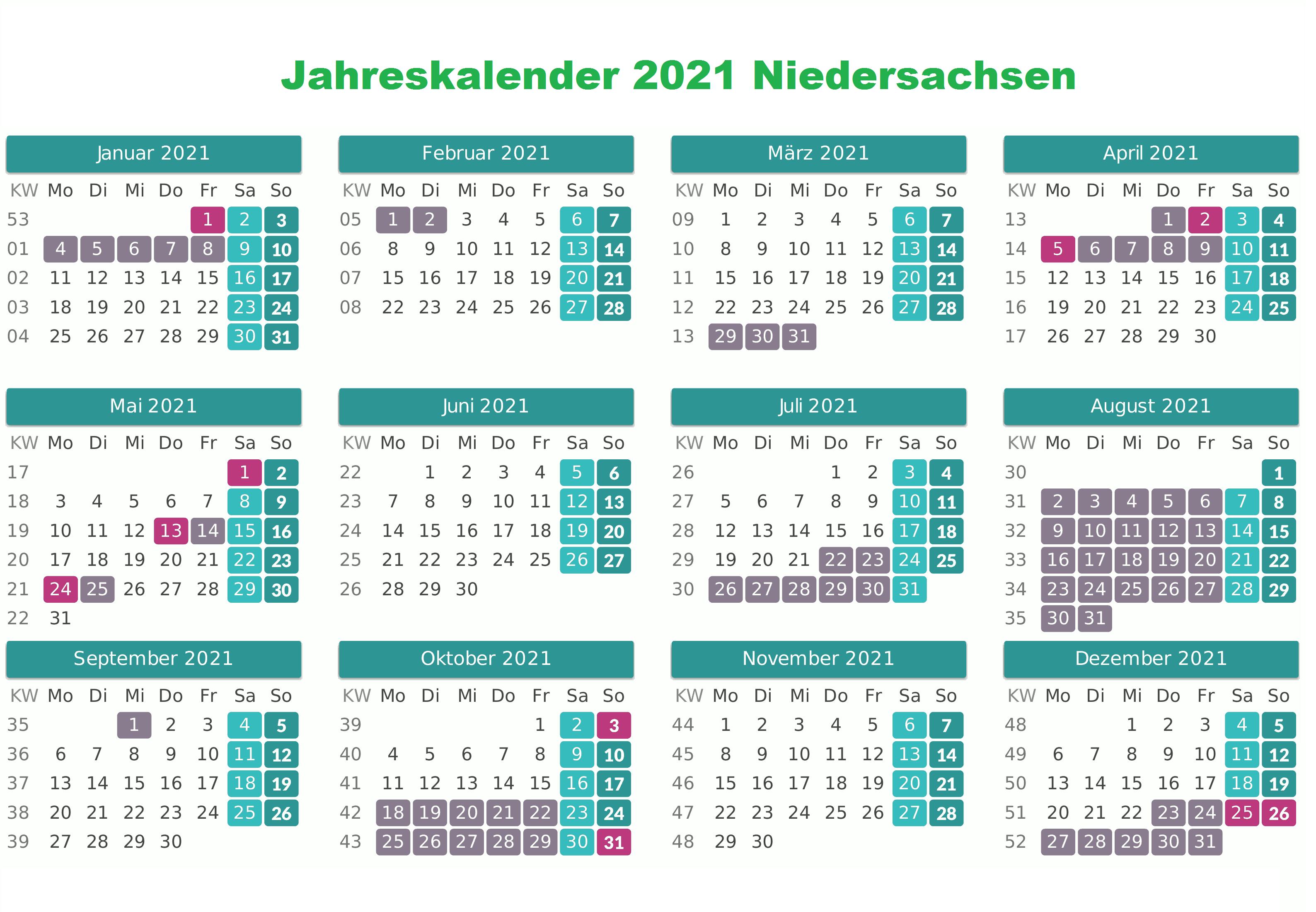 Jahreskalender 2021 Niedersachsen MitFeiertagen
