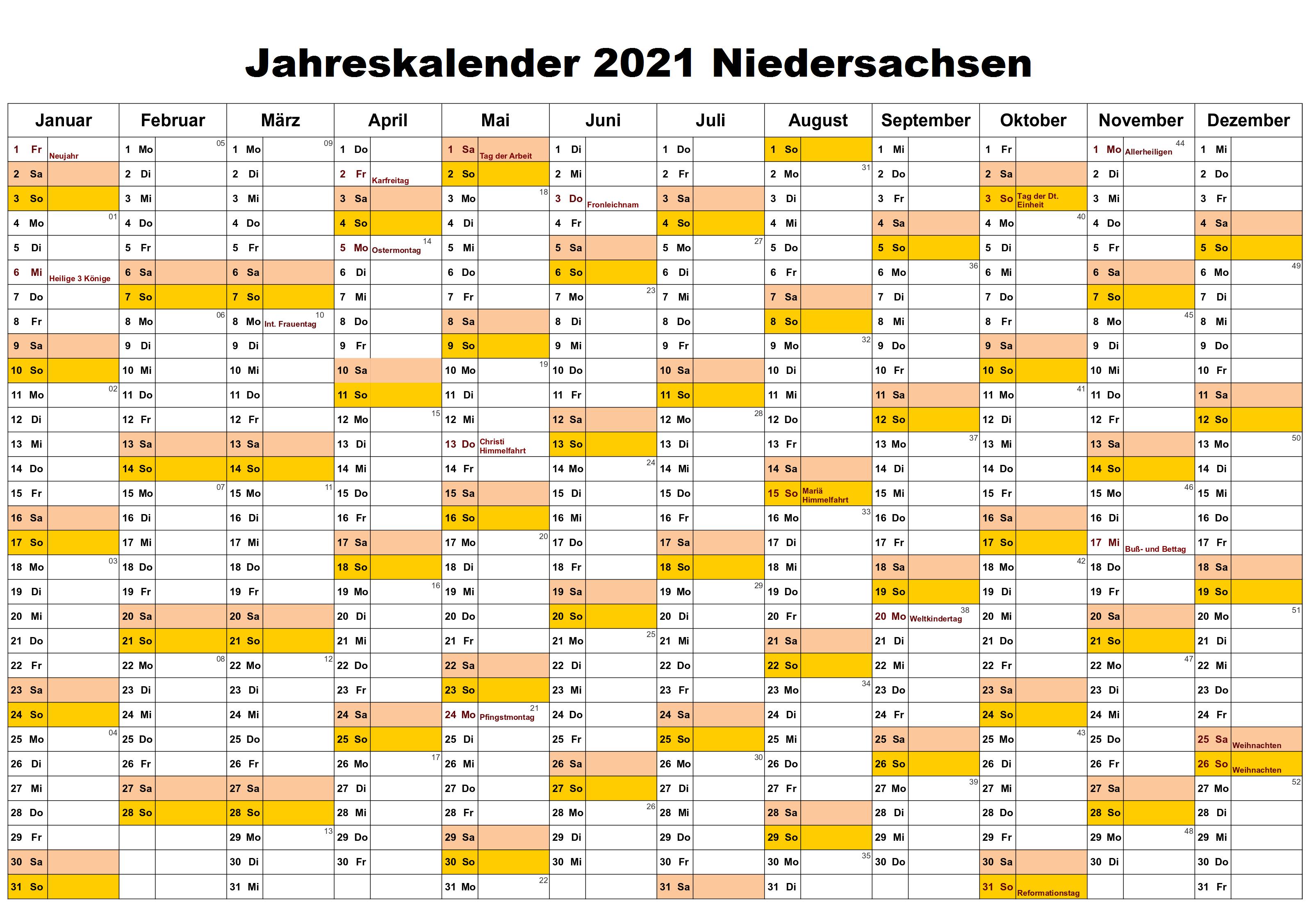 Jahreskalender 2021 Niedersachsen Schulferien