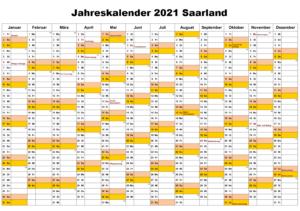 Jahreskalender 2021 Saarland