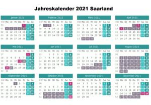Jahreskalender 2021 Saarland MitFeiertagen