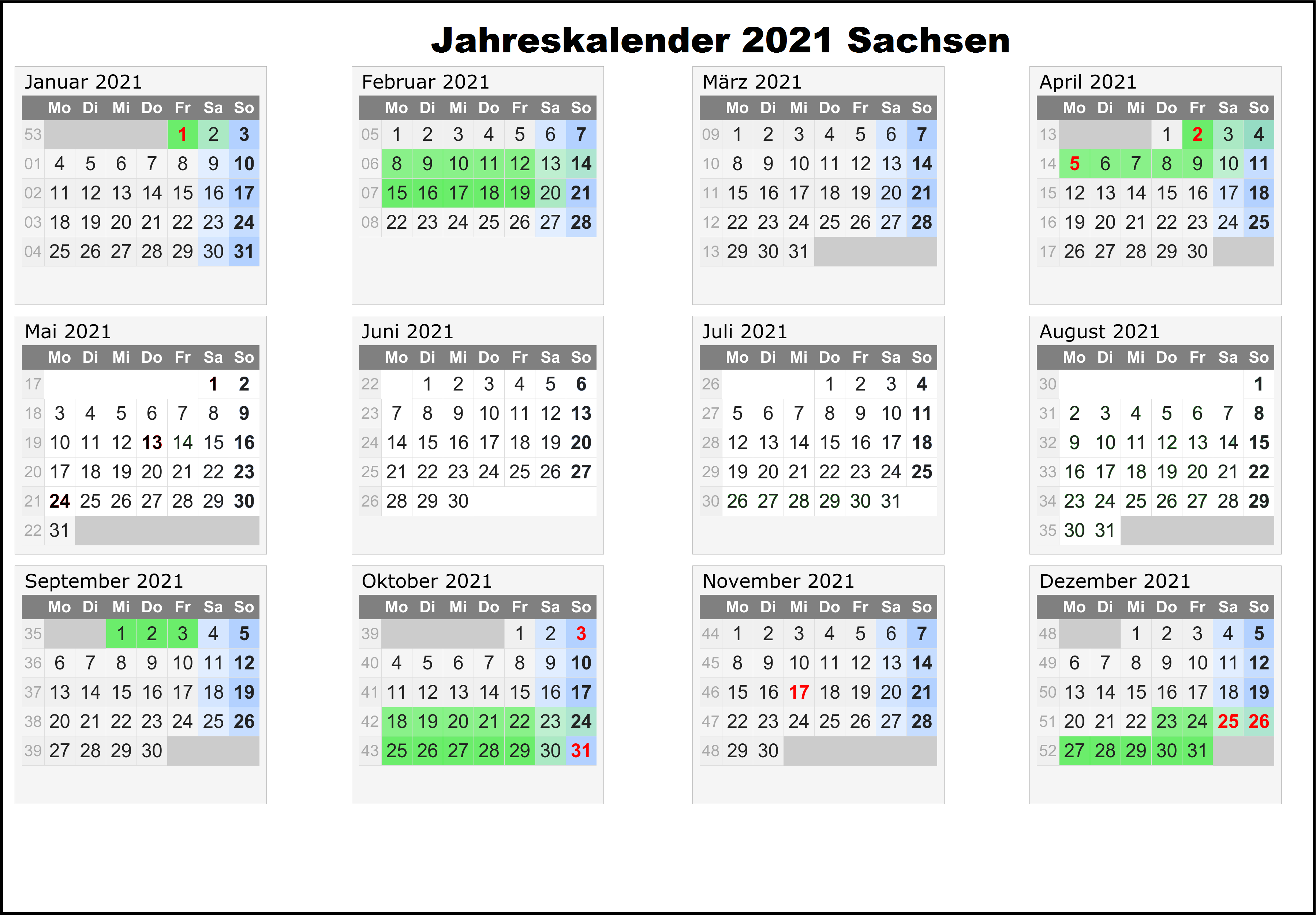 Jahreskalender 2021 Sachsen MitFeiertagen