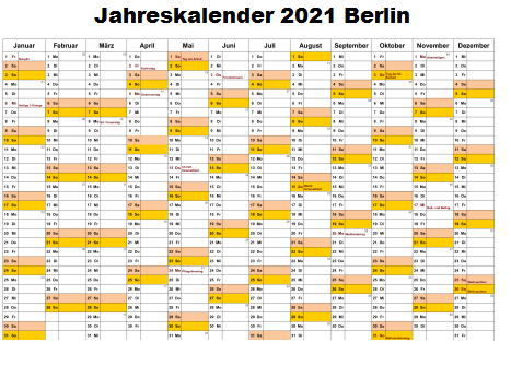 Jahreskalender 2021 Berlin MitFeiertagen