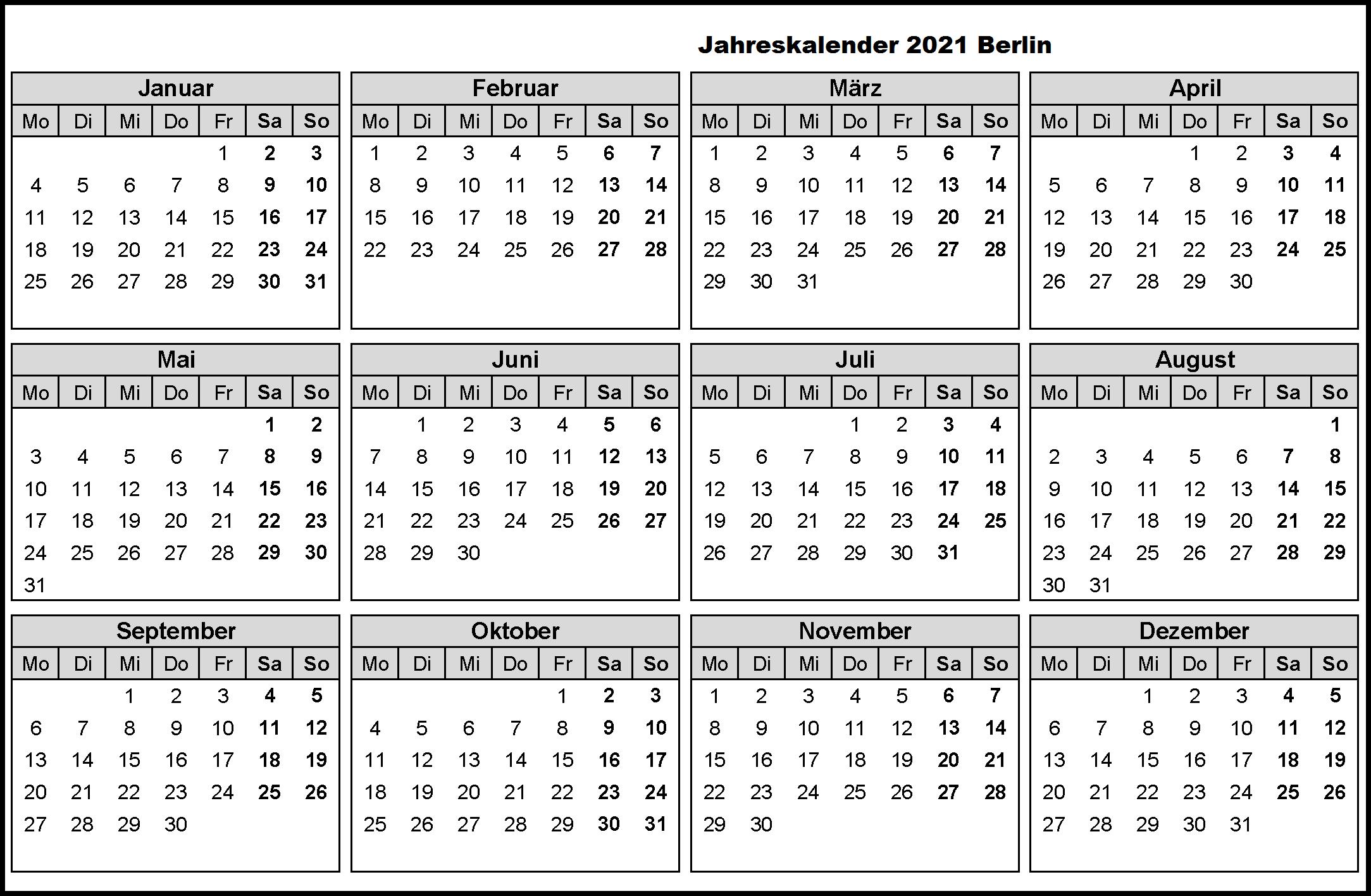 Jahreskalender 2021 Berlin MitFerien und Feiertagen