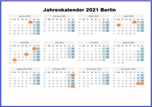 Jahreskalender 2021 Berlin