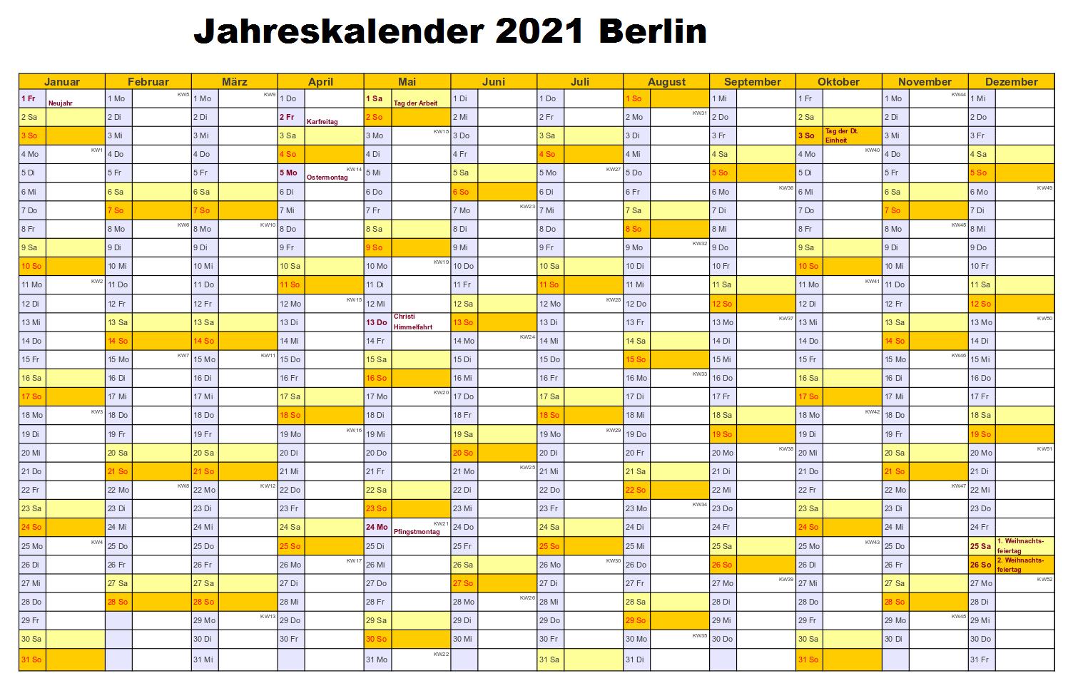 Jahreskalender 2021 Berlin PDF