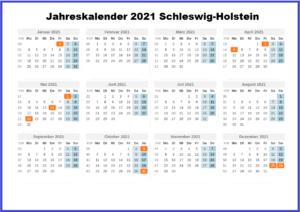 Jahreskalender 2021 Schleswig-Holstein