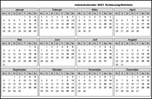 Jahreskalender 2021 Schleswig-Holstein MitFerien und Feiertagen